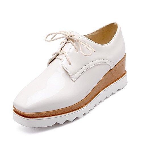 AllhqFashion Damen Pu Leder Mittler Absatz Quadratisch Zehe Rein Pumps Schuhe Weiß