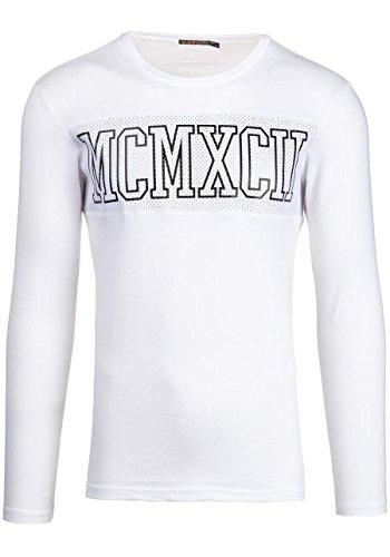 BOLF Herren T-shirt Figurbetont GLO STORY 7639 Weiß XL [1A1]  