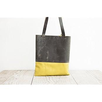 Shopper Tote Bag echtes Leder graue Einkaufstasche Schultertasche Büro handgemacht