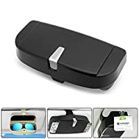 Glasses Holder For Car Sun Visor, Universal Car Sunglasses Eyeglasses Case Storage Box Organizer Car Glasses Holder Sun Visor Clip With Ticket Card Holder And Magnetic Function