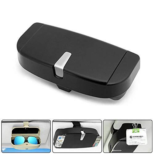 Volwco Brillenhalter für Auto Sonnenblende, Universal Brillenhalterung Auto Brillenhalter Box mit Kartenhalter und Magnetic Design Kann Münzen Adsorbieren (Schwarz)