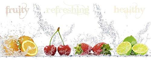 ARTland Qualitätsbilder I Glasbilder Deko Bilder Porzani & Kesu Fruchtig - erfrischend - gesund - Zitronen Kirschen Erdbeeren Limetten Ernährung & Genuss Lebensmittel Obst Fotografie Bunt 50 x 125 x 1,1 cm A6YN