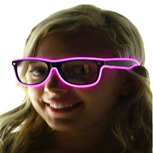 ERGEOB® Coole selbstleuchtende EL Wire Brille mit Batteriebetrieb und Modusänderung in Pink - DIE PARTYBRILLE Ideal für Fasching, Karneval, Festivals, Halloween, Raves, Clubbesuche. pink