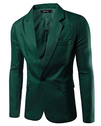 Uomo Blazer - Elegante Slim Fit Vestito di Affari Cappotto Giacca Outwear Verde scuro