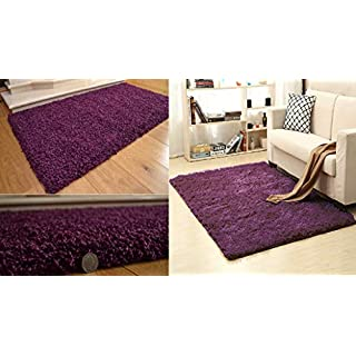 AQS INTERNATIONAL Soft Touch Shaggy Rug 5cm Thick Soft Modern Style Pile Plain Purple Shaggy Area Rugs Non-Shed Home Office Bedrooms Living Rooms Bedside (60 x 110cm (2ft x 3ft 8in))