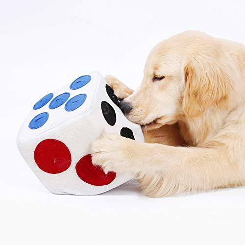 PanDaDa Pet Food Treat Plüschtier mit Geruch, Hunde Futter undicht Spielzeug Slow Feeder Toy Square Dice mit 6 Seiten Lebens mittel undicht Öffnungen -