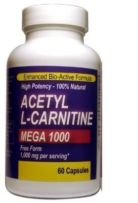 Mega Acetyl L-carnitine 1000mg - 60 Capsules Pharmaceutical Grade Ultra-pure for Maximum Bioavailability