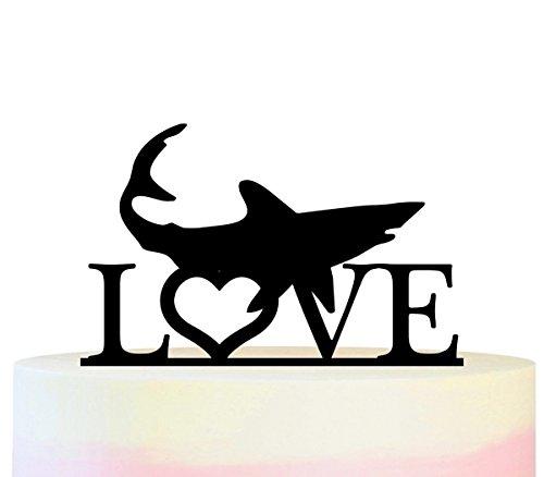 Innovedesire Love Shark Kuchenaufsätze Hochzeit Geburtsta Acryl Dekor Cupcake Kuchen Topper Stand für Kuchen Party Dekoration 11 Stück (Toppers Shark Cupcake)