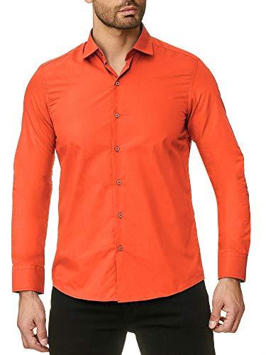 Reslad Herren Hemd Slim Fit Bügelfrei Freizeithemd Businesshemd Hochzeit Männer Hemden Anzug Uni Langarm RS-7002 Orange S