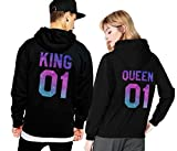 King Queen Hoodie Set Pärchen Pullover Partner Look Kapuzenpullover Couple Sweater Pulli Schwarz Weiß Damen Herbst Winter Geschenk 2 Stücke (schwarz-Herr-XL+Dame-M)