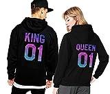 King Queen Hoodie Set Pärchen Pullover Partner Look Kapuzenpullover Couple Sweater Pulli Schwarz Weiß Damen Herbst Winter Geschenk 2 Stücke (schwarz-Herr-M+Dame-S)