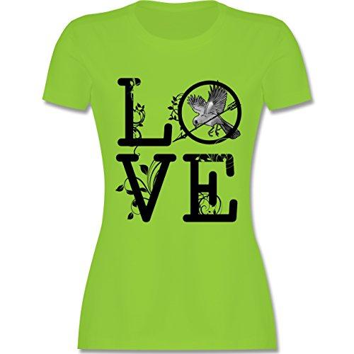 Statement Shirts - Love Vogel Ranken - tailliertes Premium T-Shirt mit Rundhalsausschnitt für Damen Hellgrün