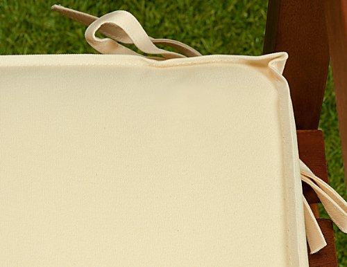 Detex Bankauflage  Wasserabweisend  Extradick  110cm - Sitzkissen Sitzauflage Sitzpolster Bankpolster Auflage - Farbwahl - Creme