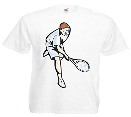 Motiv Fun T-Shirt Tennis Squash Mega Sports Hobby Freizeit Sport Motiv Nr. 4854 Weiß