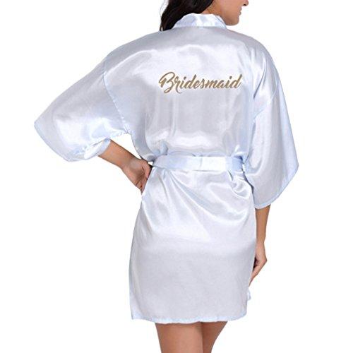 Damen Satin Morgenmantel Kimono Schräge V-Ausschnitt Lang Bademantel Schlafanzug Negligee Nachthemd Nachtwäsche mit ()