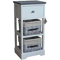 Unidad de almacenamiento de cajón de mimbre Nantes Blanco/Gris Madera, madera, Blanco, 30x24.5x63 cm