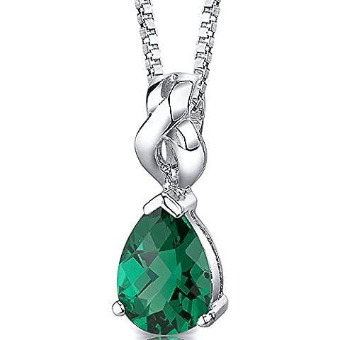Revoni Sterling Silver Pear Shape Checkerboard Cut Emearld Pendant with Silver Necklace