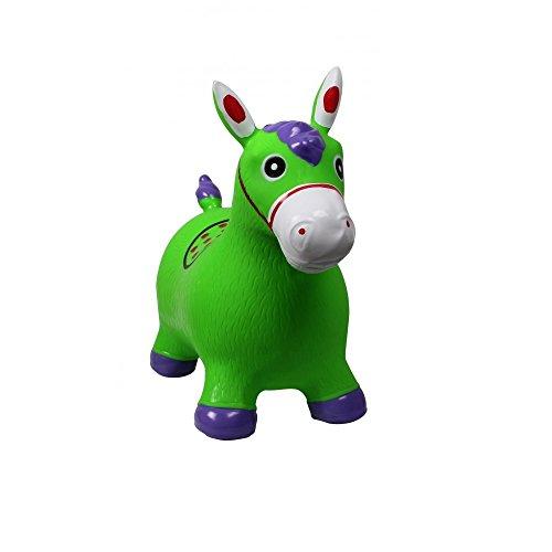 Hüpftier Hüpfpferd Sprungpferd Hopser Gummihüpfer Pferd oder Einhorn Farbauswahl, Farbe:gruen