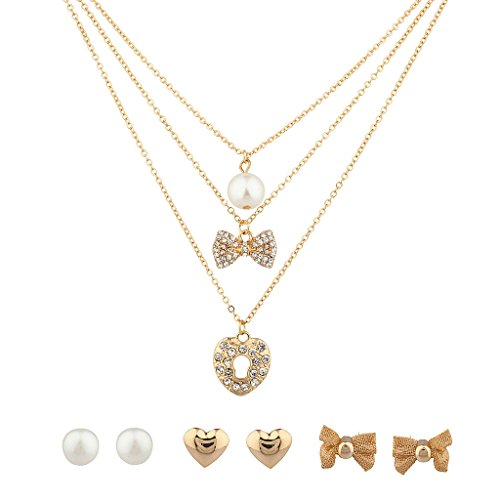 Lux accessori in finta perla cristallo fiocco Unlock My Heart multiple collana e orecchini set