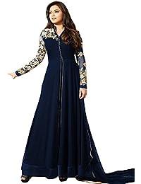 Ank Women's Georgette Semi Stitched Salwar Suit (LT_Blue_4_Blue)