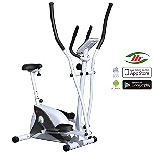 41gAubSGcUL. SS300  - AsVIVA C16 2in1 Elliptical Crosstrainer and Exercise Bike with 15 kg Flywheel Mass, Fitness Bike with 8 Manually Adjustable Resistance Level and Belt Drive - Incl. Bluetooth App Control and Built-in Pulse Receiver