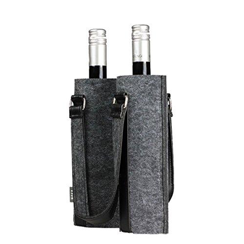 B & C Room Weinregal Picknick Reisetasche Filztasche Träger 2 Flaschen Anti-Rutsch-dunkelgrau