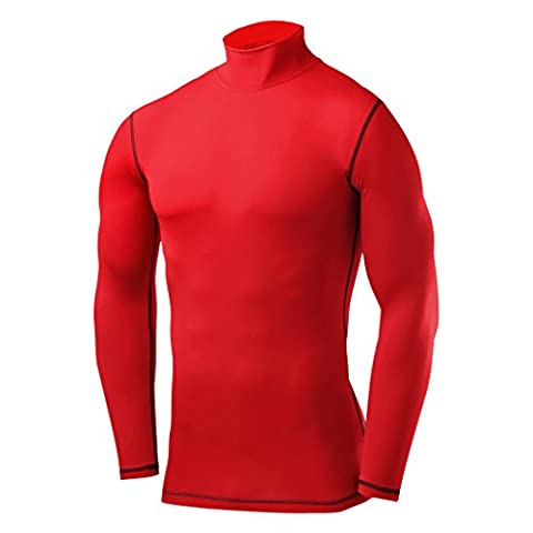 Homme, Garçon PowerLayer Haut de Compression Base Layer Under Première Couche Maillot Thermique à Manches Longues Armour Top - Small - Red