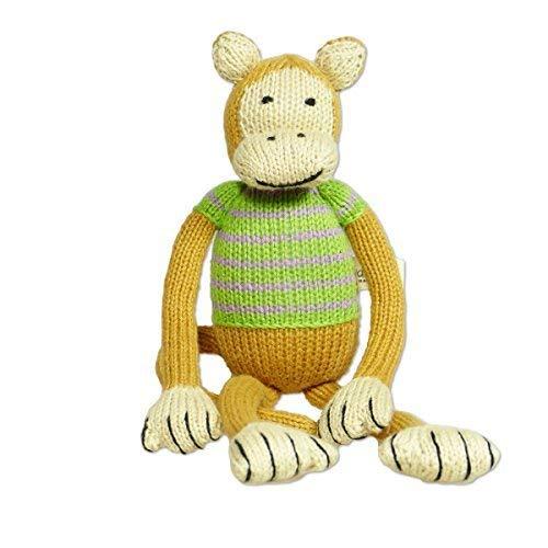 Mama Ocllo Strick-Kuscheltier-Affe Baby, Schlenkertier, Schimpanse 32 cm, Schmusetier, Bio-Baumwolle, Braun/Beige/Grün, Handmade, Fair Trade