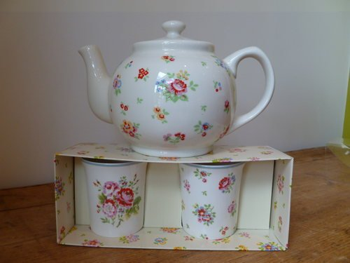 Cath Kidston Sprig Floral Teapot And Two China Mugs