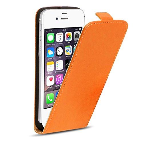 iPhone 4s PU Leder Flip Case Klapphülle Cover Hülle in Farbe: Grün Orange