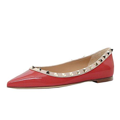 Lutalica Frauen Stilvolle Nieten Tägliche Lässig Spitze Ballerinas Pumps Schuhe Patent Rot Größe 35 (Patent Red Leder-ballerina-flache Schuhe)