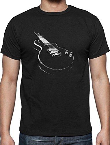 Geschenk für alle Musikfans mit E-Gitarre - Motiv T-Shirt Medium Schwarz