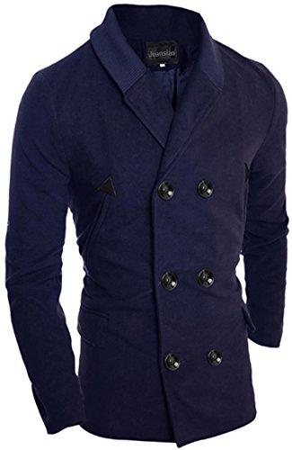 Jeansian Manteau et Blousons Long Homme Hiver Men's Fashion Lapel Double Breasted Long Winter Jacket Coat 9560 Navy