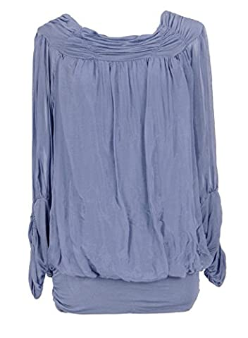 Ladies Womens Italian Lagenlook Quirky Long Sleeve Rusched Elasticated Viscose Neck Silk Tunic Top Blouse One Size (One Size, Cornflower Blue)