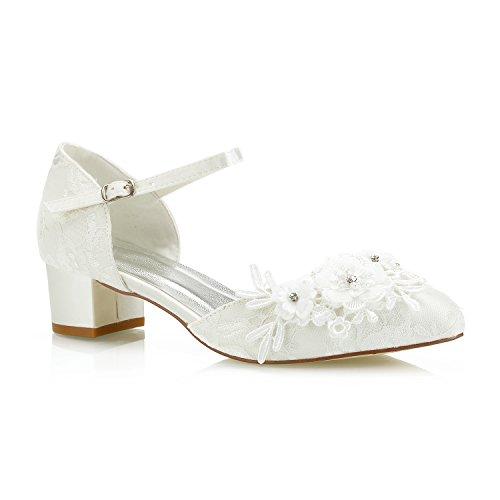 Mrs White 6655-1 Damen Brautschuhe,Damen Niedriger Cone Heel Spitze Satin Floral Diamond Hochzeitsschuhe Court Schuhe, Elfenbein, 38 EU Cone Heel