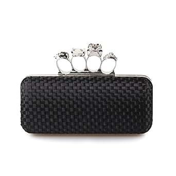 H:oter Frauen & Girls Eleganz Abschlussball & Party Abend Handtasche mit Kristall magischen Ring Griff, clutch bag, Geschenkideen - Farben verschiedenen, Preis / Stück - gold