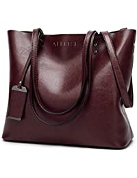 749a8c2d9da16 Womens Soft Leather Handbags Large Capacity Retro Vintage Top-Handle Casual  Tote Bags 2Size