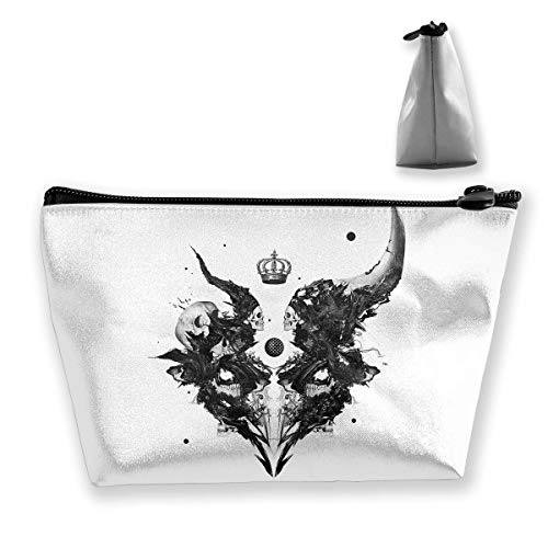Makeup Bag Cosmetic Skull Horns White Portable Cosmetic Bag Mobile Trapezoidal Storage Bag Travel Bags with Zipper -