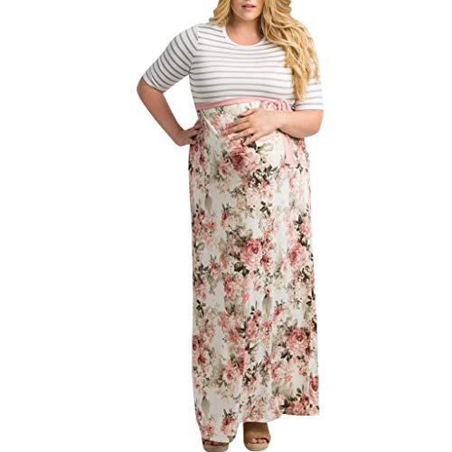 MCYs Maternity UmstandskleidFrauen Mutterschaft Pflege Schwangerschaft Ellenbogen SpleißEn Print Streifen Kleid -