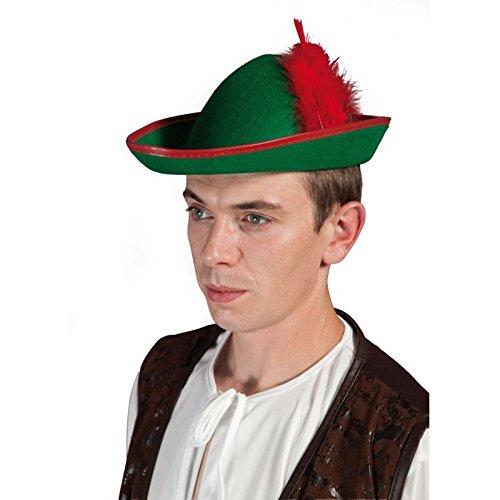 P 'tit Clown 20184Hut Filz Robin mit Feder-Erwachsene-Rot/Grün (Grüner Hut Für Erwachsene)
