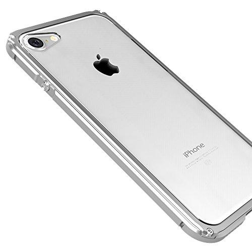 """iPhone 7 4.7"""" Coque ,SHANGRUN Aluminium Metal Frame Bumper Coque + Transparent PC Matériel Protictive Couvercle housse Etui Protection Case pour iPhone 7 4.7"""" Noir Argenté"""