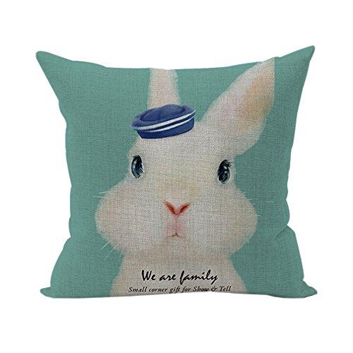 Nunubee Decor Cotton Linen Home Pillow Throw Pillow Case Sofa Cushion Cover Rabbit Green