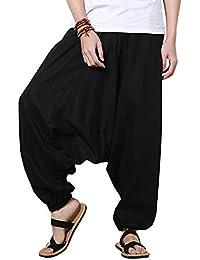 Pantalón Lino Hombres Casual Harem Holgado Hippie Danza Pantalones De Yoga 62903d953e88