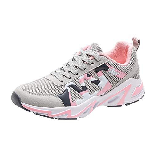 CUTUDE Damen Laufschuhe Komfortable Freizeit Mesh Ultra-Leicht Atmungsaktive Athletic Sport Sneakers Schnürer Outdoor Athletisch (Rosa, 39 EU)