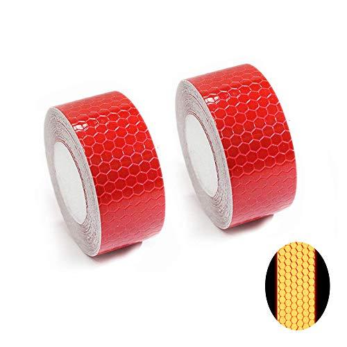 Tuqiang® Bande Réfléchissant Adhésif pour Véhicules Vêtements Sac à Dos Haute visibilité Ruban Sécurité extérieure Autocollant réfléchissant 2 Pièces Rouge 3M×2.5CM
