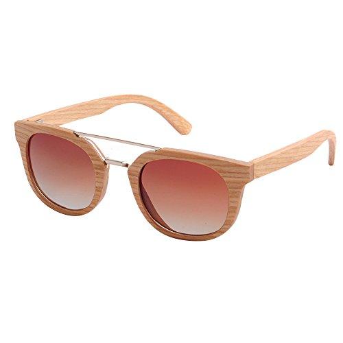 Sonnenbrillen Mode Damen-Sonnenbrillen Persönlichkeit handgefertigte Holzrahmen Metall Nase Brücke Katzenaugen polarisierte TAC-Objektiv UV-Schutz fahren Angeln Strand Sonnenbrillen ( Farbe : Beige )