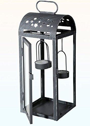 Kamaca Verzinkte Laterne in Silber aus Metall und Glas inklusive 3 Metall Teelichhaltern und 4 LED Teelichter (33 x 11,5 cm verzinkt)