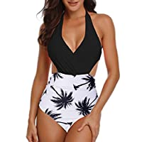 Yuson Girl Women Retro High Waisted Cut Out Monokini Bodysuit Deep v Tummy Control One Piece Swimsuit Halter Neck Plunging Monokini with Push Up Padded Bra Backless High Leg Swimming Costume