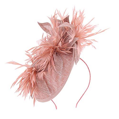 IPOTCH Blume Fascinator Haarreif Braut Haarschmuck Haar Accessoire Tea Party Hochzeit Kirche Kopfbedeckung - Rosa (Kostüm Braut Schmuck Online)
