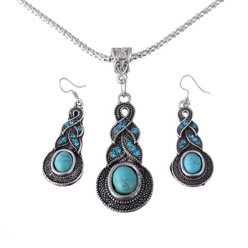 QIYUN.Z Baisse Tordu Tibet Argent Perle Bleue Turquoise Chaine Collier Pendentif Boucle D'Oreille photo couleur